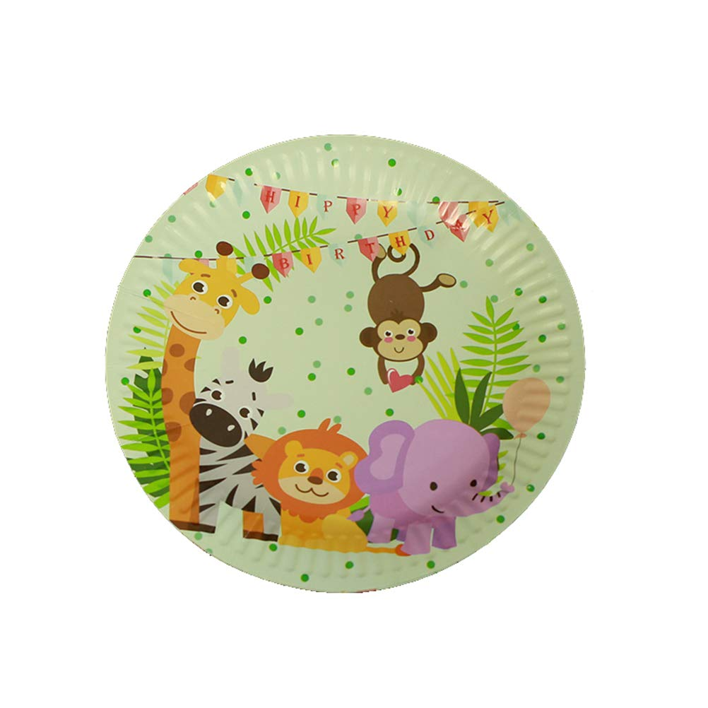Toyvian 50Pcs Paper Flatware Set,Jungle Zoo Lion Disposable Paper Plates and Cups for Kids Birthday Party Favors