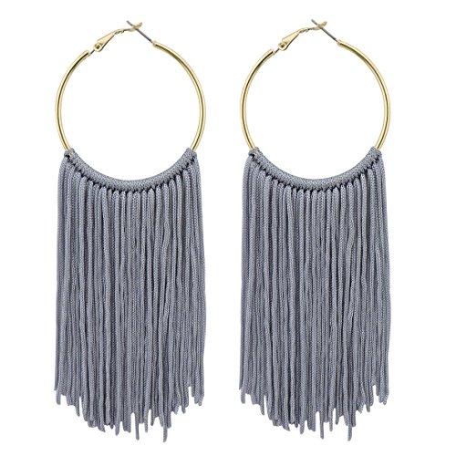 COIRIS New Fashion Hoop Statement Tassels Dangle Drop Earrings For Women (ER1083-Grey)