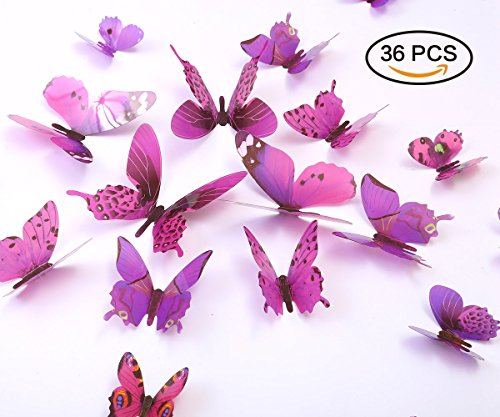 Purple Decals - Kakuu 36PCS Butterfly Wall Decals - 3D Butterflies wall stickers Removable Mural decor Wall Stickers Decals Wall Decor Home Decor Kids Room Bedroom Decor Living Room Decor-Purple