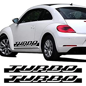 CHARMINGHORSE Pair of Side Skirt Racing Stripe Sticker for Volkswagen Beetle Turbo Graphics Decal Stickers 2010-2016, 4 Colors Available (Black)