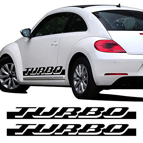 (CHARMINGHORSE Pair of Side Skirt Racing Stripe Sticker for Volkswagen Beetle Turbo Graphics Decal Stickers 2010-2016, 4 Colors Available (Black))