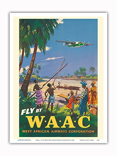 Pacifica Island Art - Africa - Fly by WAAC (West African Airways Corporation) - Africans - Niger River - Vintage Airline Travel Poster c.1940s - Master Art Print - 9in x 12in