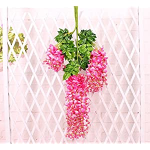 Coobl 3.6 Ft Realistic Romantic Classic Artificial Fake Wisteria Vine Ratta Silk Flowers for Garden Floral Decoration DIY Living Room Hanging Plant Vine Home Party Wedding Decor 12 Pcs (Pink) 41