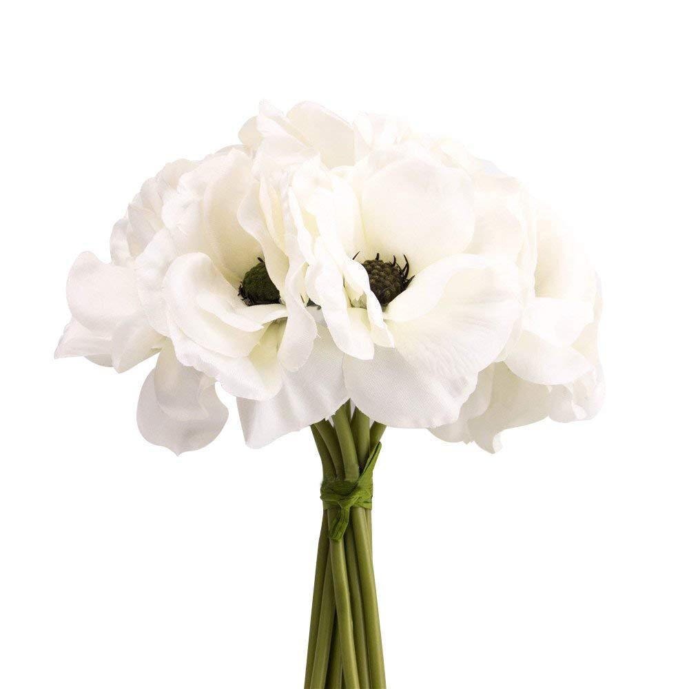 Amazon Silk White Anemone Bouquet Home Furnishing Decorative