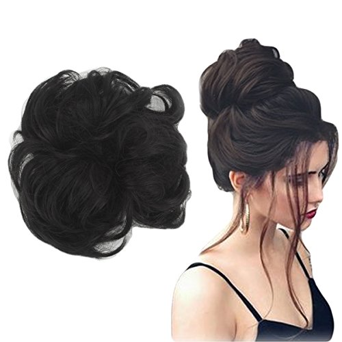 Focussexy Scrunchie Bun Up Do Hair piece Hair Ribbon Ponytail Extensions Wavy Curly or Messy 14 Difference Colors ()