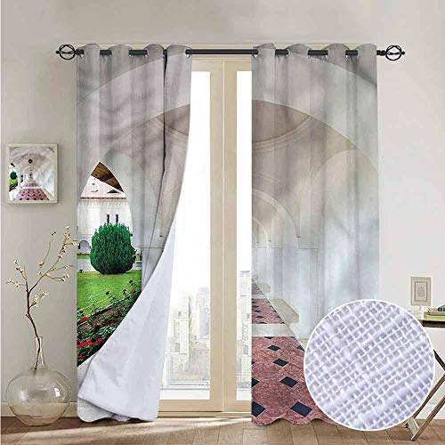 NUOMANAN Room Darkening Wide Curtains Travel,Arched Colonnade Hallway,Light Blocking Drapes with Liner 52
