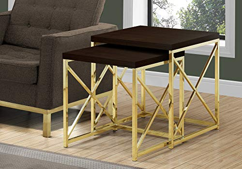 Monarch Specialties I TABLE-2PCS Set/Cappuccino/Gold Metal NESTING TABLE, Brown