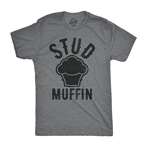 Stud Muffin Tee - Crazy Dog T-Shirts Stud Muffin Funny T-Shirt Funny Good Looking Tee For Handsome Hunks (Grey) L