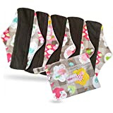 Period Mate Reusable 6 Pcs Set Cloth Menstrual Pads with Bamboo-charcoal Absorbency with Wet Bag (6 Pieces) (Rainbow Hearts)