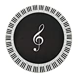 Black and White Piano Notes Living Room Rug Soft Comfortable Wearable Easy Clean ( Size : 80 cm diameter )