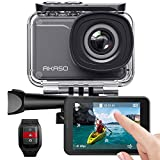 AKASO V50 Pro Native 4K 30fps 20MP WiFi Action Camera with EIS Touch Screen 30m Underwater Waterproof Camera Support External Mic Remote Control Sports Camera with Helmet Accessories Kit
