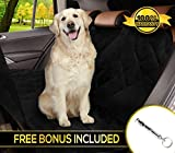Cheap Reusable Dog car Seat Cover for All Cars with Side Flaps & Free Stop Barking Whistle – Durable Non-Slip Comfortable Material for Safe Traveling on the Road | Machine Washable & Easy to Install, Black