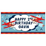 Planes Up and Away Airplane Pilot Birthday Banner Personalized Party Backdrop Decoration