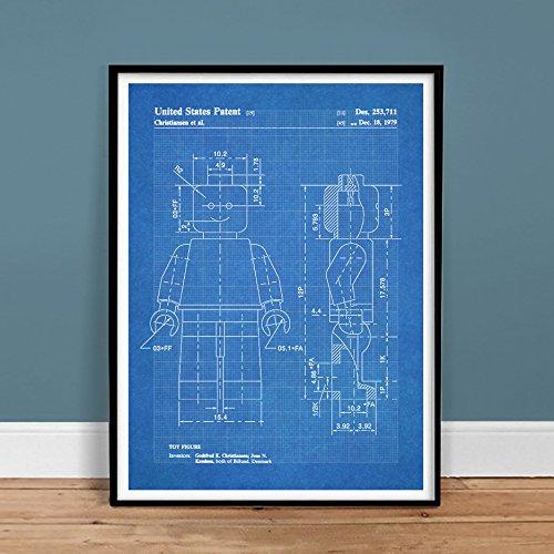 LEGO Minifigure Poster Toy Building Construction Blocks Blueprint 1979 US Patent Print Mini Figure