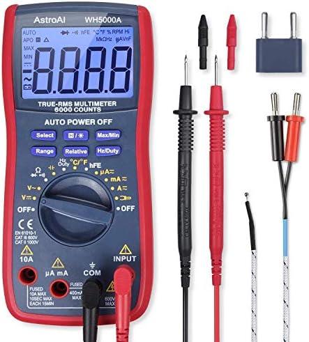 OPcFKV Digital Multimeter Amp Volt ohm DCAC Current Voltage Multimeter NCV Live Line Diode Resistance Frequency Capacitance Temperature Test Leads