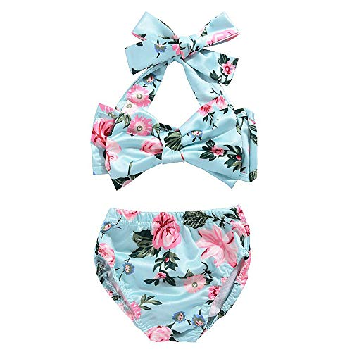 Moolia Infant Baby Girl Floral Sling Beach Bikini Set Tow-Pieces Swimsuit Summer Sunsuit (70(0-6M), Green)