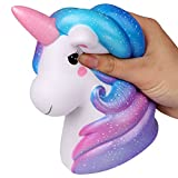 LaooDa New 6.1'' Jumbo Squishy Shining Rainbow Long Hair Unicorn Animal Slow Rising Stress Relief Hop Props Party Supplies Toy Gift for Kid Adult