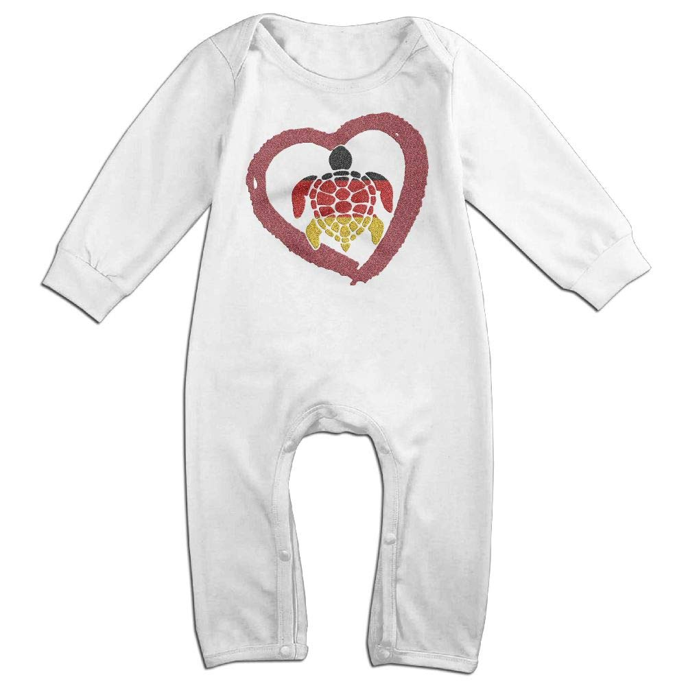 Mri-le1 Toddler Baby Boy Girl Long Sleeved Coveralls Sea Turtle German Heart Infant Long Sleeve Romper Jumpsuit