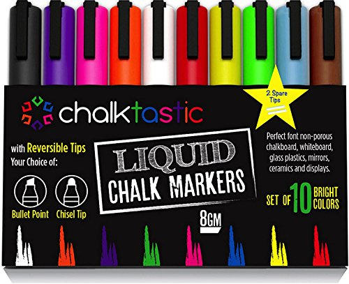 Chalktastic Liquid Chalk Markers 10 Pack of Professional Quality Pens With Bright Neon Colors 6mm Reversible Fine or Chisel Tip Massive 8gm of Ink Use on Chalkboard Glass Bistro Or A-Frame Boards