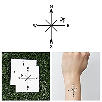 4334ab2f6 Amazon.com   Tattify Bird Compass Temporary Tattoo - Guidance (Set of 2) -  Other Styles Available - Fashionable Temporary Tattoos   Beauty