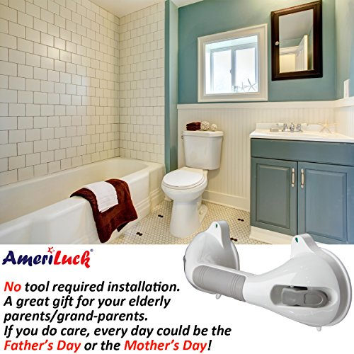 AmeriLuck Bath and Shower Suction Grab/Grip Bar with Indicator Shower Handle for Bathroom - 16.5in Medical Assist Balance Hand Rail for Tub Safety - for Elderly/Senior/Handicap (16.5in, 2 Pack) by AmeriLuck (Image #3)