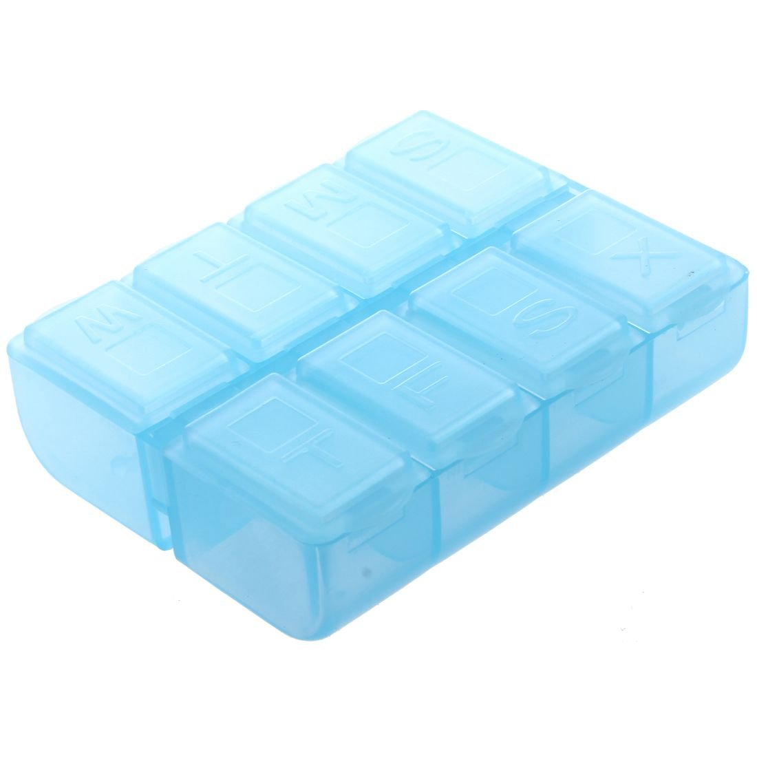 Pill Box - TOOGOO(R) Plastic Rectangle 8 Compartments 7 Days Medicine Pill Box Blue