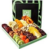 Oh! Nuts® Holiday Nut and Dried Fruit Gift Basket, Healthy Gourmet Snack Christmas Food Box, Great for Birthday, Sympathy, Family Parties & Movie Night or as a Corporate Tray