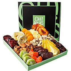 Go healthier with your gift basket giving. This is a fruit and nut packed gift basket, perfect as a healthy corporate gift, a fiber-filled gift box for those who need a get-well wish or just a way-healthier option for Holiday gift giving. THE OH! NUT...