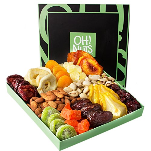 Holiday Nut and Dried Fruit Gift Basket, Healthy Gourmet Snack Christmas Food Box, Great for Birthday, Sympathy, Family Parties & Movie Night or as a Corporate Tray - Oh! Nuts ]()