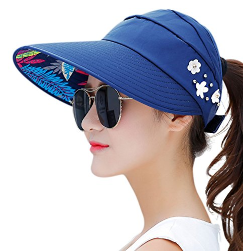 HINDAWI Sun Hats for Women Sun Hat Wide Brim UV Protection Summer Beach Foldable Visor Navy