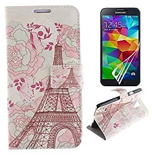 LIMME Eiffel Tower and Flower Design PU Leather Full Body Case with Protective Film for Samsung Galaxy S5 I9600