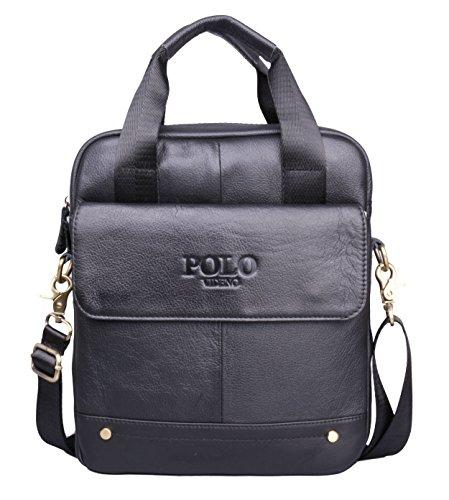 VIDENG POLO® Hotest Men's Top Genuine Leather Handmade Briefcase Shoulder Messenger Business Bag From Italy Design (VP-Onyx Black)