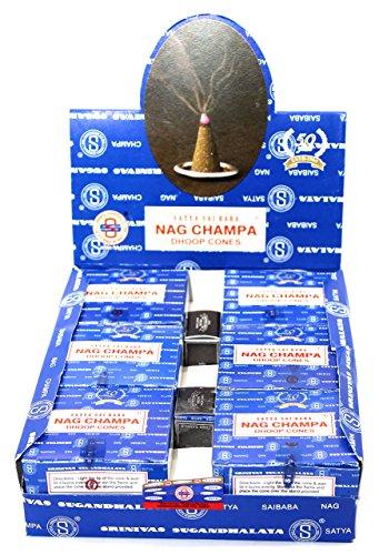 Shrinivas Sugandhalaya Satya Sai Baba Nag Champa Incense Dhoop Cones, 144 (Sai Incense Cones)