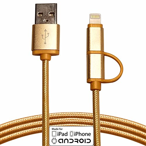 Apple-MFi-Certified-TechHutt-2-in-1-Lightning-to-Micro-USB-Cable-Nylon-Braided-Data-Sync-and-Rapid-Charge-Cable-Cord-For-iPhone-6-6s-6Plus-iPad-Pro-Air-Mini-Samsung-Galaxy-S7-S6-More
