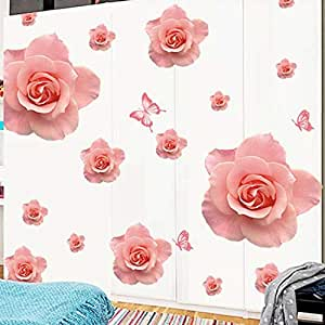 DIY Removable Wall Stickers For Living Room Home Decor - Romantic flower