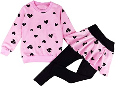 LOVE Baby Girls Cotton Tops T-shirt+Leggings Pants Kids Clothes Outfit Set 1-6Y