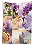 Spa Decor Tablecloth Lavender Themed Relaxing Joyful Spa day with Aromatherapy Oils and Candles Dining Room Kitchen Rectangular Table Cover Purple and White