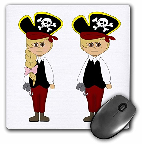 3dRose Anne Marie Baugh - Halloween - Cute Boy and Girl Dressed As Pirates for Halloween Illustration - Mousepad (mp_216818_1) ()