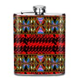 Native Home Red 7 Oz Printed Stainless Steel Hip Flask for Drinking Liquor