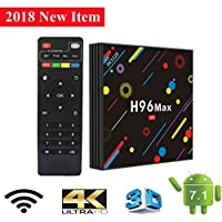 TV Box, H96 MAX Android 7.1 Box RK3328 Quad Core 4GB 32GB Supporting 4K (60Hz) Full HD /H.265 /Dual WiFi BT 4.1 Smart Media Player