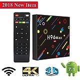 TV Box, H96 MAX Android 7.1 Box RK3328 Quad Core 4GB 32GB Supporting 4K (60Hz) Full HD /H.265 /Dual WiFi BT 4.1 Smart Media Player