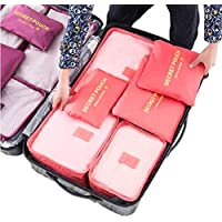 Zollyss 6pcs/Set Travel Storage Bag Portable Luggage Organizer Clothes Tidy Pouch Zip Bra Cosmetic Packing Laundry Bag Cube Storage Case (Color May Vary)
