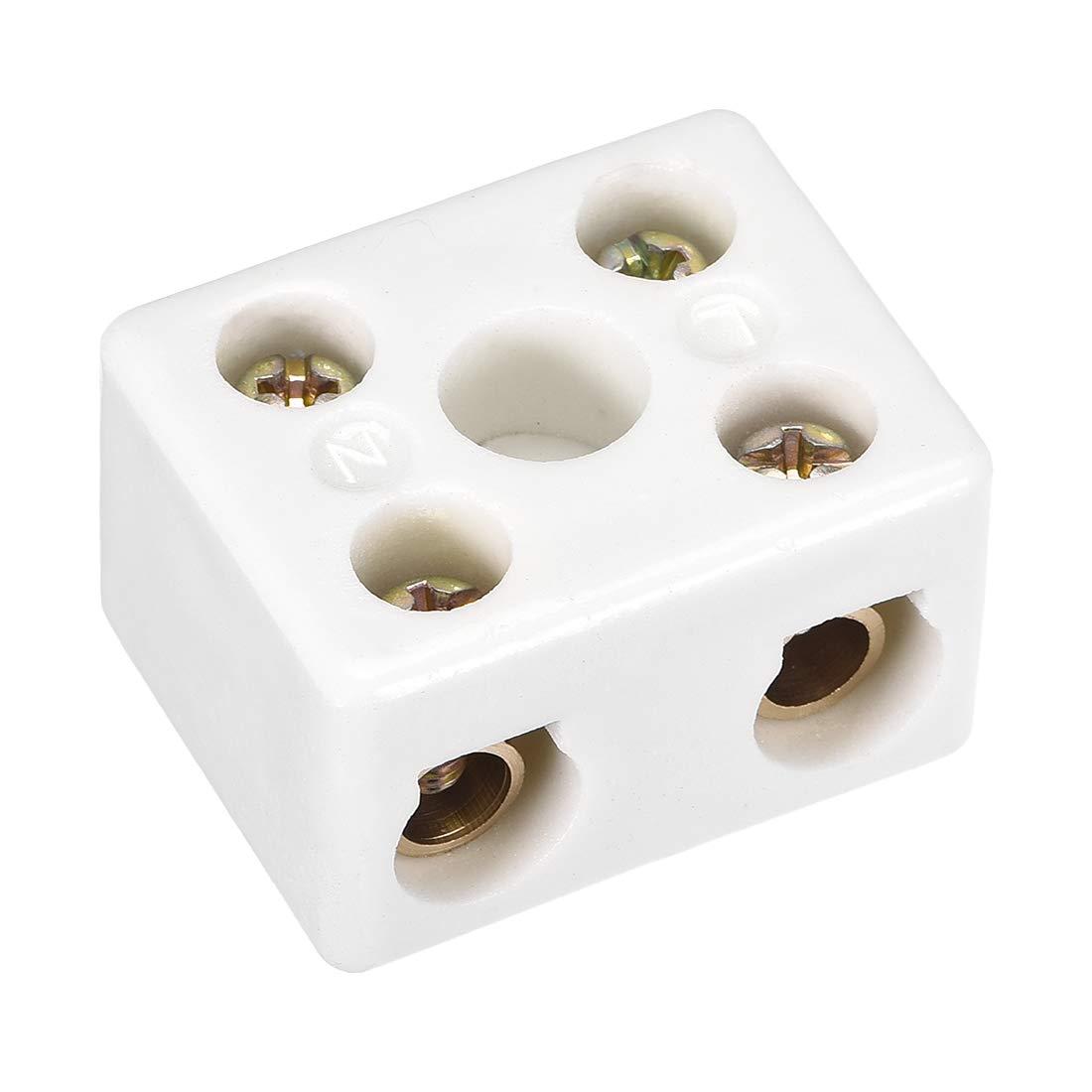 sourcing map 2 Façon céramique haute température Bornier Connecteur porcelaine 39x31.5x23mm