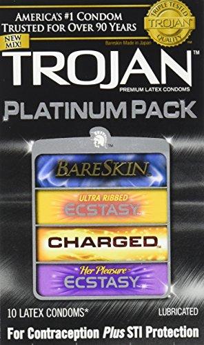 Trojan Condom Platinum Pack Lubricated, 10 Count