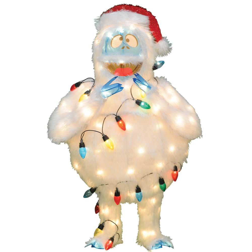 ProductWorks 32-inch Pre-Lit Rudolph The Red-Nosed Reindeer Bumble Christmas Yard Decoration, 80 Lights