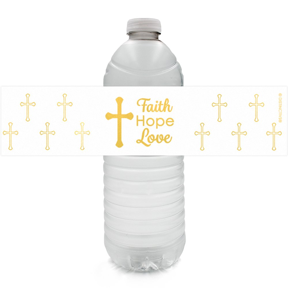 Baptism, Christening, First Communion Party Favor Decorations - Gold Cross Water Bottle Labels (24 Count)