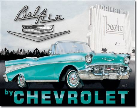 "CLASSIC ART/ARTWORK - Cars / Automobiles [1760] - ""1957 Chevrolet (Chevy) Bel Air"" - Vintage/Antique Image - Artwork/Sign Is Paint On Metal [TSFD]"
