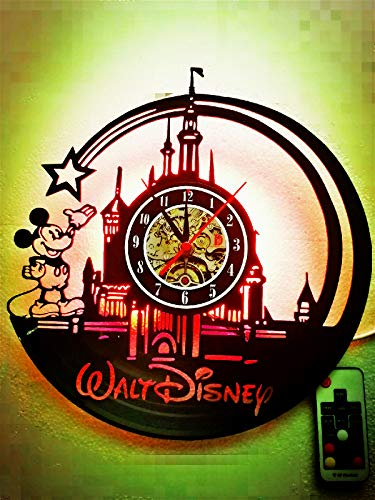 Mickey Personalized Mouse Holiday (Cute Mickey Mouse Walt Unique Disney LED Lamp Vinyl Night Light Handmade Wall Clock Classic Kid's Room Decor- Amazing Gift for Christmas,Birthday, Friend (12