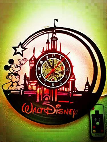 Cute Mickey Mouse Walt Unique Disney LED Lamp Vinyl Night Light Handmade Wall Clock Classic Kid's Room Decor- Amazing Gift for Christmas,Birthday, Friend (12