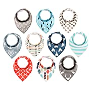 Baby Bandana Drool Bibs - 10 Pack Boys and Girls Soft Organic Cotton With Snaps for Teething Drooling Feeding Unisex Baby Shower Gift Set